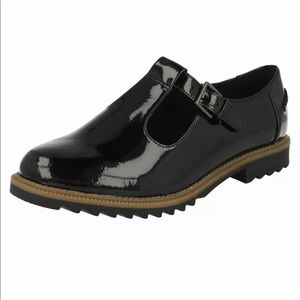 Ladies Clarks T-Bar Heeled Shoes Griffin Black 🖤